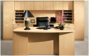 REV1 Bowfront Desk, Credenza & Storage